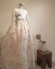 Our haute couture, beautiful The Dan Hanbok. Made just for you, for your special day. Korean Traditional Dress, Traditional Fashion, Traditional Dresses, Kpop Fashion Outfits, Korean Outfits, Hanbok Wedding, Wedding Dress, Bride Of Frankenstein Costume, Korea Dress