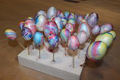 Every Easter we collect some twisted willow from the garden or catkins from the lane and use them to hang little painted eggs off. This year I wanted to craft some of our own eggs to hang. Monkey i...