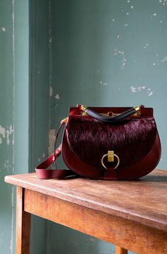 CHLOE GOLDIE DOUBLE CARRY BAG IN LONG HAIR-CALF (PONY) AND SMALL GRAIN CALFSKIN DARK VELVET