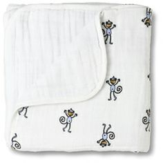 Aden & Anais Dream Blanket Jungle Jam Monkey and White (also available with giraffes, elephants, birds, and more)