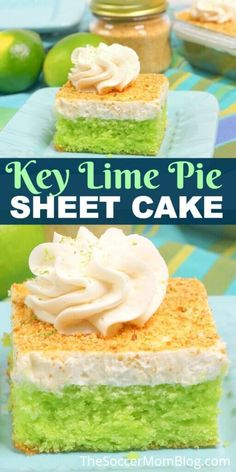 This tangy and delicious Key Lime Sheet Cake from the Soccer Mom Blog is a must-try for lovers of classic key lime pie! It has all of the yummy flavors of the original recipe but with a fluffy cake texture. Try making this delicious recipe this spring. #keylimepie #sheetcake
