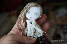 Boho Girl, Art Doll Brooch , mixed media collage