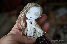 Boho Girl Art Doll Brooch  mixed media collage by miopupazzo