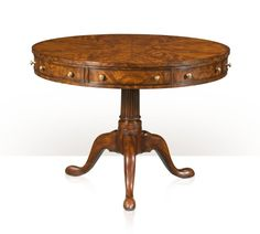 A mahogany drum-top rent table, the circular mahogany top fitted with four frieze drawers alternating with dummy drawers on a reeded turned column and tripod cabriole legs terminating in pad feet. The original George III, circa The Library. End Tables, Coffee Tables, Entrance Table, Theodore Alexander, Teak Table, Center Table, French Decor, Art Nouveau, Family Room