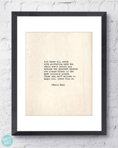 Roald Dahl Quote. Inspirational Art. Typographic Print. Watch with glittering eyes the whole world... Wall Art. Typewriter Series no.3