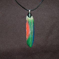 Wood feather pendant parrot pendant wood by leebrowncarvings