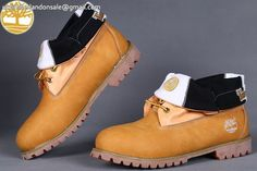 Custom Earthkeepers Mens Timberland Wheat-Black Basic Roll-Top Boots $85.99