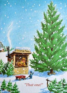 Vintage Christmas Card - Little Boy and Wagon on Christmas Tree Lot - Used Christmas Tree Lots, Christmas Scenes, Christmas Morning, Christmas Art, Christmas Decorations, Christmas Things, Winter Holiday, Vintage Christmas Images, Retro Christmas