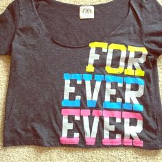 Aerie Crop Top✨American Eagle Vintage Tee FOREVER American Eagle Trendy Vintage Tee Crop Top with Forever Ever Printed in Colorful Letters! So Cute! Size is Small, But Roomy. A Medium Can Wear It! ✨ Like New Condition!✨ American Eagle Outfitters Tops Crop Tops