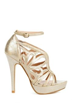 Metallic Cut Out Heels