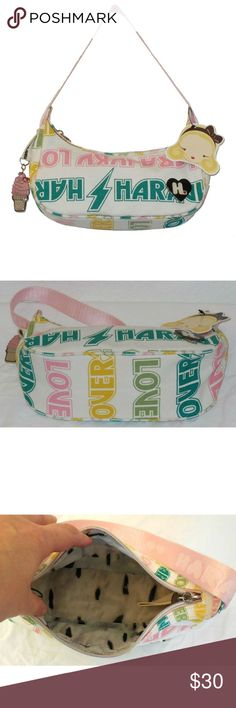 "HARAJUKU LOVERS Ice Cream Cone Charm Shoulder Bag Super cute handbag from Harajuku Lovers in a pink and green print canvas, includes enamel ice cream cone charm. 4.5"" high x 9"" wide x 3.5"" deep, 8.5"" strap drop. Harajuku Lovers Bags Shoulder Bags"