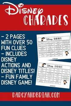 So fun! This Disney themed charades for kids printable game is a fun and easy family activity. Kids will have a blast acting out clues from the word list using Disney movie titles and actions. Click to get the 50 clues to print out at home. Makes a fun kids activity especially at a Disney birthday party! Charades is a great party game for kids.