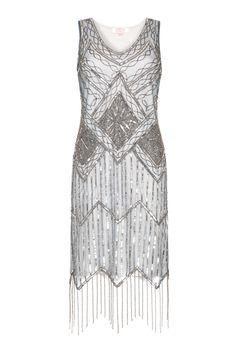 faf39521410f0 US20 UK24 AUS24 EU52 Isobel Grey Blue Plus size Fringe dress Vintage  inspired 1920s Flapper Great