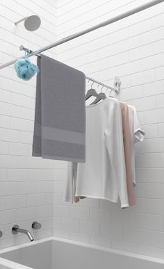 Umbra Sure-Lock Bar, Rack or Clothesline for Drying Clothes in-Shower, Rust-Proof Aluminum, Chrome Hang Dry Clothes, Bar Clothes, Clothes Drying Racks, Clothes Line, Shower Rods, Shower Curtain Rods, Shower Curtains, Small Bathroom Storage, Small Bathrooms