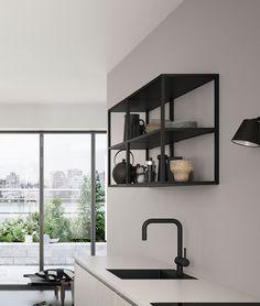Ontdek het FERRO stalen reksysteem in cool, Deens design Interior Design Kitchen, Interior Design Living Room, Nordic Interior, Nordic Home, Home Renovation Loan, Casa Loft, Kitchen Rules, Home Improvement Loans, Upper Cabinets