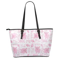 11f23c39b81 InterestPrint Lovely Pig Womens Leather Tote Shoulder Bags Handbags     Details can be found by clicking on the image.