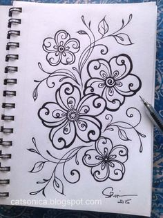 #doodle #inkdoodle #flower #floraldesign #doodlies Doodles Zentangles, Ink Doodles, Zentangle Drawings, Flower Doodles, Zentangle Patterns, Doodle Drawings, Embroidery Patterns, Doodle Art, Zen Doodle