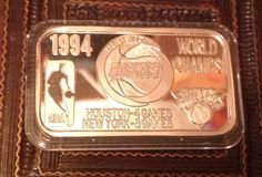 HOUSTON ROCKETS 1994 The Mint 1 oz T M Silver ART Bar .999