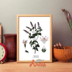Mint flower - Botanical illustration, print, light beige paper, vintage, wall art, decoration, Easter decor by AnaisHomeDecor on Etsy