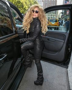 Stunning Lady Gaga wearing another look Mila Schon the super leather jumpsuit if FW14