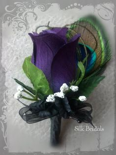 Purple plum PEACOCK feather Boutonniere rose Groom by SilkBridals