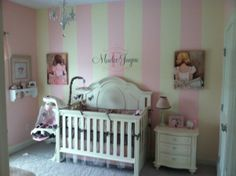 Baby Girl Nursery..think I can get him to paint the wall like this?