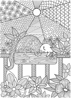 Sleeping Cat Adult Coloring (Doodles) on Behance Dog Coloring Page, Free Adult Coloring Pages, Cute Coloring Pages, Doodle Coloring, Coloring Pages To Print, Mandala Coloring, Coloring Books, Mandala Doodle, Doodle Books