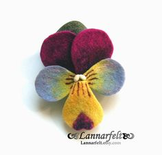 Needle Felted Pansy Brooch
