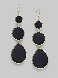 .@Ippolita Onyx & 18K Gold 3-Tier Gelato Earrings