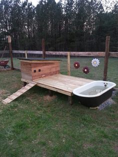 Our perfect duck house! One week after work project. My grandpa's old cow watering tub made it just right.dont need the house bit tho but the rest is perfect. Look for an old spa! Backyard Ducks, Backyard Farming, Chickens Backyard, Chicken Cages, Chicken Pen, Raising Ducks, Raising Chickens, Canard Coop, Duck Pens