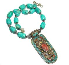 $237.85 Vintage+Style!+Blue+Turquoise+&+Fossilized+Coral+Sterling+Silver+Necklace at www.SilverRushStyle.com #necklace #handmade #jewelry #silver #turquoise