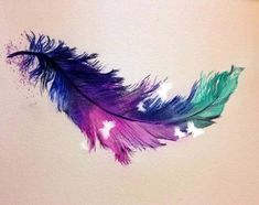15+ Beautiful Watercolor Feather Tattoo Ideas #FeatherTattooIdeas