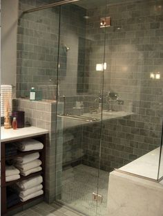 Grey slate tile and glass door, maybe too dark