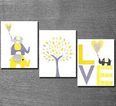 Yellow and grey Nursery Art Print Set,  5x7, Kids Room Decor, Baby/Children Wall Art - Tree, Elephants, BABY Elephant, LOVE. $29.95, via Etsy.
