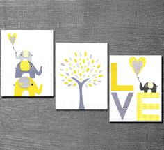 Yellow and grey Nursery Art Print Set,  5x7, Kids Room Decor, Baby/Children Wall Art - Tree, Elephants, BABY Elephant, LOVE. $29.95, via Etsy.