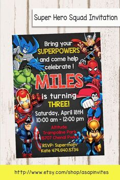 Superheroes Superhero Birthday Party Avengers Super by Asapinvites More