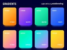 Hey, I've collected lots of gradients in my Photoshop palette and I was thinking it would be cool to share some of them with you.PSD file with my favorite ones. Hope you like it! Graphic Design Tips, Graphic Design Inspiration, App Design, Color Inspiration, Design Tech, Flat Color Palette, Colour Pallette, Colour Schemes, Ui Color