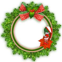 Round Transparent Christmas Photo Frame with Elf