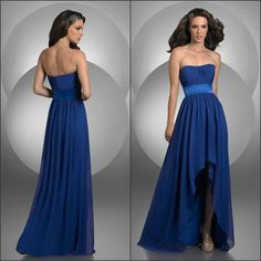 Fashion strapless pleating ribbon low back hi lo length bodice dack blue chiffon front short and long back bridesmaid dresses-in Bridesmaid Dresses from Apparel & Accessories on Aliexpress.com