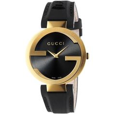Gucci Interlocking Latin GRAMMY Goldtone PVD Stainless Steel & Leather... (1,654 CAD) ❤ liked on Polyvore featuring jewelry, watches, apparel & accessories, stainless steel watches, pandora jewelry, womens jewellery, bezel watches and stainless steel jewelry