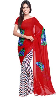 Poly Georgette Red White Beautiful Printed Saree With Unstitch Blouse