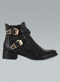 Black Faux Leather Ankle Boots with Double Buckle Detail,  Shoes, black faux leather double buckle, Chic