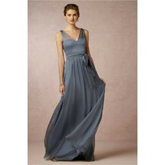 """BHLDN Hitherto """"Josephine"""" gown in steel blue Stunning bridesmaids dress from Anthropologie's bridal line, BHLDN. Made from a high quality chiffon that mimics silk. Seriously, it floats like a dream! I wore this once in a wedding. The straps were shortened so the dress is probably best for someone short waisted (but they were exceptionally long to start with, all the bridesmaids had to shorten them). It's 13.5 inches from the shoulder to the waist seam; total length is about 60 inches. The…"""