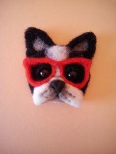 felt brooch puppy hipster handmade brooch animal by FeltPositive
