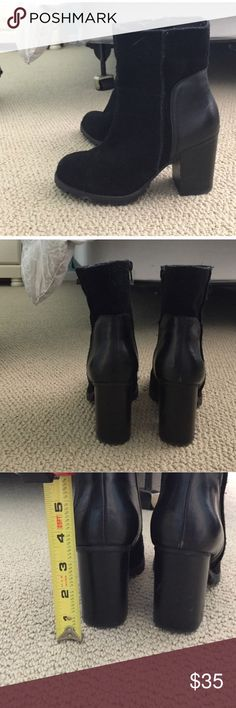 Suede and leather black booties Super cute. Too small for my (wide) foot. In great condition. Steve Madden Shoes Ankle Boots & Booties
