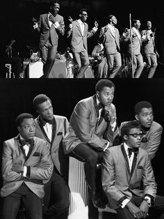 The Temptations — Bottom photo (l-r): Paul Williams, Eddie Kendricks, Otis Williams, Melvin Franklin & David Ruffin