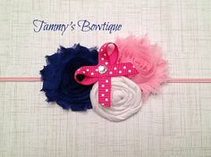 Royal Blue and Pink Headband by TammysBowtique
