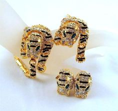 Rhinestone Tiger Articulated Enamel Over The Shoulder Brooch Bracelet Vintage | eBay