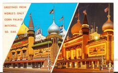 1963 Postmarked Postcard Greetings from Corn Palace Mitchell SD 2 view day night