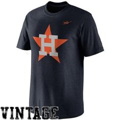 Nike Houston Astros Cooperstown Collection Dugout Logo Tri-Blend T-Shirt - Navy Blue